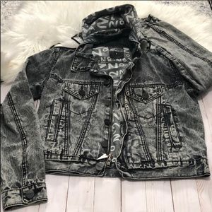 JOYRICH hooded acid wash denim jean gray jacket S